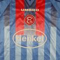 Trikot, Trikot-Set, Ausweichtrikot, Saison 1999/2000, Fortuna Düsseldorf, matchworn, Nr. 11, Heinz Vossen, Umbro, Henkel
