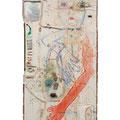 おさんぽ日和...stroll weather / acrylic, wire, glue gun, brick etc on cotton cloths 2000 / H168xW69cm (aprx. 66x27inch)
