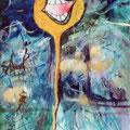 bomb!! / acrylic, thread, pen etc on paper 2000 / H30xW20cm (aprx. 12x8inch)