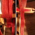 Ripsbändchen zum nachrüsten von Römertuniken, feine Fäden am Webrahmen