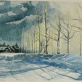 WINTER ALLEE (2013), 46 cm x 30 cm, Nach einer Fotografie aus dem Internet (Fotograf nicht bekannt) // Based on a photography by an unknown photographer