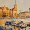 ZUERICH IM MORGENLICHT (2018), 38 x 28 cm