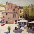 BAUDUEN Frankreich (2015), 56 cm x 42 cm. Strassenszene aus GoogleEarth / Based on a scene found on GoogleEarth