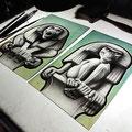 glas brandschilderen apen. / glasspainting monkeys