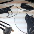 glas brandschilderen, raven . / stained glass painting ravens