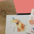 ポストカード購入!!おまけの栞もついてきました♪袋の絵も可愛い!