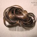 ГРЕБЕНЬ для ВОЛОС - постиж, русый, мелирование (из натуральных волос)