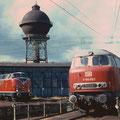V160 003 auf der Drehscheibe Bw Duisburg Wedau 28.08.1993.