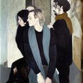 """""""Gruppo teatrale"""",olio su tela,80 cm x 100 cm"""