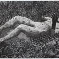 Awakening , 2018 , charcoal on paper , 260 x 400 cm