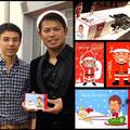 千葉ロッテの今江選手と☆2012今江敏晃選手ファンミーティングにて。僕がデザインしたファンのみなさんへのプレゼント用クリスマスカードと一緒に☆
