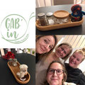 Christmas decorations at Gab'in Café in Nyon. Dezember 2019