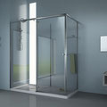"""MAMPARA FRONTAL DE DUCHA MODELO """"HUMIDRY-3C"""". Mampara frontal de ducha con zona de secado y vestidor de un vidrio fijo, una puerta corredera y una hoja abatible suspendida en la corredera"""