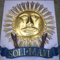 Sonne in Kupferblech getrieben und Echtvergold - mit Schriftzug für Hausfasade
