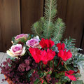 Christmas arrangement in a container