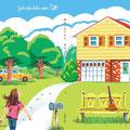『風のとおりみち』松田ようこ/CDジャケット 風がそよいでくるようなウクレレのアルバムです。松田さんが少女時代を過ごされたNY郊外の家とご家族がモデルになっています。