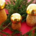 Holzpilze, vergoldet