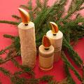 Holzkerzen, vergoldete Flamme