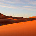 Sunrise on present moment. Sahara Desert.