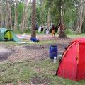 ... und erreichen unseren Campingplatz... Gut, dass wir unsere eigenen Zelte dabei haben... die sind ruckzuck aufgebaut