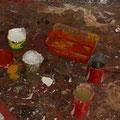 Die Farben werden aus Natursteinen der Umgebung zusammengemixt...