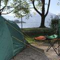 """Da ich über Nacht gefahren bin, konnte ich gleich morgens mein Zelt aufbauen und mir einen """"Seeplatz"""" sichern."""