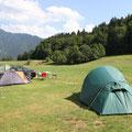 Vom Zeltplatz aus schauten wir direkt auf den Wallberg.
