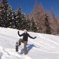 Heute war ich nicht skifahren, denn ich musste eine Schneeschuh-Route finden...