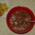 Hier gab es Ceviche... ein typisch suedamerikanisches Gericht mit Schrimps.
