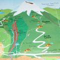 Hier mal eine Karte, damit ihr ein Gefuehl habt, wie nah ich an dem feuerspuckenden Riesen war... Links unten ist Banos und ich war bis zu dem Refugio oberhalb der Ortschaft Pondoa.