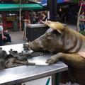 ... und dass auf der Einkaufsmeile genau wie in Bremen auch mehrere Schweinskulpturen stehen...
