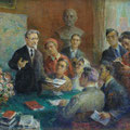 """Модоров Ф.А. """"М.И. Калинин беседует с молодежью"""". 1959 г. 39,5х41,5, картон, темпера."""