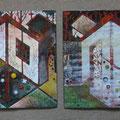 """Весёлкин А.Г. """"Окна и двери"""". 2013 г. Медь, горячие эмали. 22х44."""
