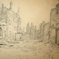 """Серов В.В.""""В Кенигсберге. У разрушенных домов"""". 1945. Б.,кар. 24,5х32. МИХМ"""