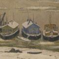 """Морозов А.В.""""Суда на зимовке"""". 1954.  Х.,м. 72х97.МИХМ"""