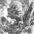 """Рузин В.И. """"Пейзаж с сорокой"""". 2007. Гравюра на меди, см. техника. 31х41"""