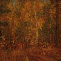 "Лёвин М.К.  ""Осень. Боровки"". 1975. Картон,м. 45х51,5. МИХМ"
