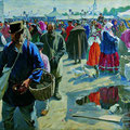 "Куликов И.С.""Ярмарка в Муроме"". 1910 – 1912. Х.,м. 174х267. МИХМ"