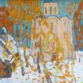 """Мокров Н.А.""""Старая Ладога.Снег выпал"""".1965.К.м.45х69"""
