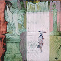"""Михейкина И.П. """"Прогулка под дождём. Летний сад"""". 2009, 15х15, медь, эмаль, собственность Музея СПГХПА им. Штиглиц."""