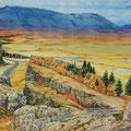 """Белан М.В. """"Осень в Тингветлире"""". (бум., акв., 26,5х39. 2009г.)"""