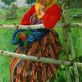 """Куликов И.С.""""Девушка у прясла (У околицы)"""". 1913. Х.,м. 117х77.МИХМ"""
