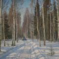 """Морозов А.В.""""Зимняя дорога"""". 1956. Х.,м. 72х97. МИХМ"""