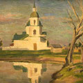 "Целебровский П.И. ""Церковь у пруда"". Х.,м. 30х46. МИХМ"