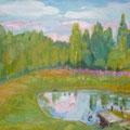"""Кувина Е.В. """"Пруд в Новосёлке"""". 2011г. х-м.  55-66."""