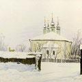 """Антонов В.М. """"Суздальская зима"""". 2001 г. Бум., цветной карандаш, 20х30"""