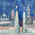 """Михейкина И.П. """"Владимирская застава в Суздале"""".2009, 23,5х27, медь, эмаль."""