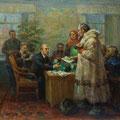 """Модоров Ф.А. """"У Ленина"""". 1940-е г.г. 55х66, холст, картон, масло."""