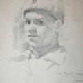 """Серов В.В.""""Автопортрет"""". 1944. Б.,кар. 26,5х22 МИХМ"""