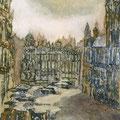 """Смыслова А.И. """"Брюссель.Площадь цветов. после дождя"""". 2009г. 20х30 монотипия."""